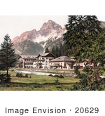 #20629 Historical Photochrome Stock Photography Of A Hotel Building Near Schluderbach And Croda Pass Croda Rosa Dolomites Tyrol Austria