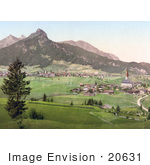 #20631 Historical Photochrome Stock Photography Of The Town Of Reutte Tyrol Austria