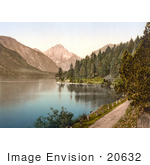 #20632 Historical Photochrome Stock Photography Of A Dirt Road And Forest On The Shore Plansee Lake In Tyrol Austria