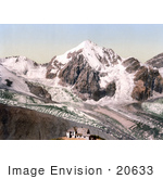 #20633 Historical Photochrome Stock Photography Of Ortler Territory Schaubachhutte With Konigspitze Tyrol Austria