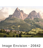 #20642 Historical Photochrome Stock Photography Of Seis With The Schlern Tyrol Austria