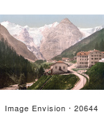 #20644 Historical Photochrome Stock Photography Of Trafoi Hotel And Post Tyrol Austria