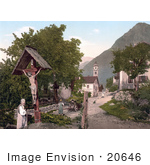 #20646 Historical Photochrome Stock Photography Of Tyrol Village Village With Crucifix Tyrol Austria