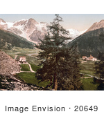 #20649 Historical Photochrome Stock Photography Of Sulden The Schontauftspitze Schontaufspitze And Suldenspitze Tyrol Austria