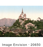 #20650 Historical Photochrome Stock Photography Of Vorarlberg Rankweil And Hohenkasten Tyrol Austria