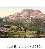 #20651 Historical Photochrome Stock Photography Of The Hotel And Croda Rossa Platzweisen Tyrol Austria