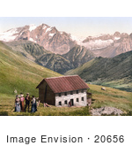 #20656 Historical Photochrome Stock Photography Of The Gasthof Valentini Sellajoch Building And Marmolada As Seen From The Sellajoch Tyrol Austria