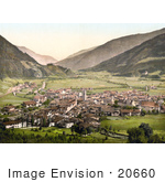 #20660 Historical Photochrome Stock Photography Of The Valley Village Of Sterzing Tyrol Austria