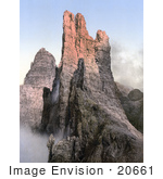 #20661 Historical Photochrome Stock Photography Of Peaks Of The Rosengarten Group Tyrol Austria