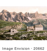 #20662 Historical Photochrome Stock Photography Of Hotels Near Schlernhaus And Rosengarten Group Tyrol Austria