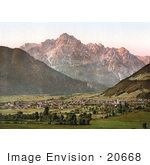#20668 Historical Photochrome Stock Photography Of The City Of Lienz With The Spitzkolft (Spitzkofl) Tyrol Austria