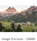 #20669 Historical Photochrome Stock Photography Of Misurinasee And The Three Spires (Derl Zinnen) Tyrol Austria