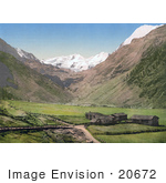 #20672 Historical Photochrome Stock Photography Of The Village Of Sulden In The Vinschgau Valley Tyrol Austria