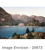 #20673 Historical Photochrome Stock Photography Of A Hotel Building On Wildsee Lake Pragser Tyrol Austria