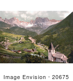 #20675 Historical Photochrome Stock Photography Of Rosengarten And St Cyprian Tyrol Austria