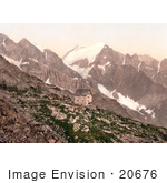 #20676 Historical Photochrome Stock Photography Of Madron Hut And Presanella Tyrol Austria