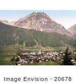 #20678 Historical Photochrome Stock Photography Of The Valley Village Of Stubaital Vulpmes Tyrol Austria