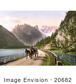 #20682 Historical Photochrome Stock Photography Of A Horse Drawn Carriage Near The Monte Cristallo And Mont Popena Ampezzostrasse With Durrensee Tyrol Austria