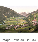 #20684 Historical Photochrome Stock Photography Of The Oetz Valley With Tschirgant Tyrol Austria