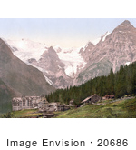 #20686 Historical Photochrome Stock Photography Of The Trafoi Hotel Tyrol Austria