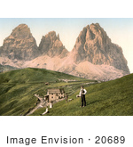 #20689 Historical Photochrome Stock Photography Of People Near A Hotel And Mountains Sella Joch And Langkofl Tyrol Austria