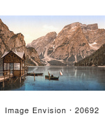 #20692 Historical Photochrome Stock Photography Of Boats On Wildsee Lake Pragser With A View Toward Sulden Tyrol Austria