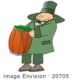 #20705 Leprechuan Carrying Clovers In A Barrel Clipart
