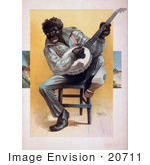 #20711 Stock Photography Of An African American Man Sitting In A Chair And Playing A Banjo On His Knee
