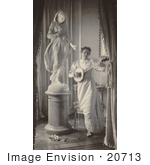 #20713 Stock Photography Of A Woman Miss Apperson Dancing And Playing A Banjo By A Statue Of Flora