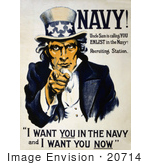 #20714 Stock Photography of a Vintage War Poster of Uncle Sam in Blue, Pointing Outwards, I Want You in the Navy and I Want You Now by JVPD