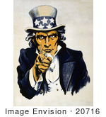 #20716 Stock Photography of a Vintage Navy War Recruiting Poster of Uncle Sam in Blue, Pointing Outwards by JVPD