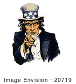 #20719 Stock Photography of a Vintage Navy War Recruiting Poster of a Blue Uncle Sam in Pointing Outwards, Isolated on White by JVPD