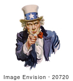 #20720 Stock Photography Of Uncle Sam Pointing Outwards I Want You Isolated On White