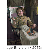 #20721 Stock Photography Of A Happy Girl Sitting In A Rocking Chair And Looking At Photographs
