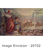 #20722 Stock Photography of Moses Preparing to Smash the Ten Commandment Tablets as Israelites Dance Around the Golden Calf by JVPD