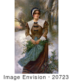 #20723 Stock Photography Of A Pretty Puritan Woman Holding Holly In Her Apron While Standing In The Snow