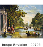 #20725 Stock Photography Of Marquis De Lafayette Wife And Dog Watching People In Boats And Swans