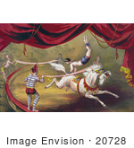 #20728 Stock Photography Of A Circus Acrobat Doing A Hand Stand On A Horse