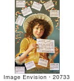 #20733 Stock Photography Of A Curly Haired Girl Surrounded By Calendars In 1889