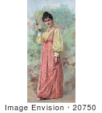 #20750 Stock Photography Of A Vintage Anheuser Busch Brewing Co Advertisement Of A Woman Holding A Bottle Of Beer