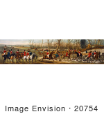 #20754 Stock Photography Of A Group Of Men On Horseback And Dogs Ready For A Fox Hunt