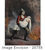 #20755 Stock Photography of a Brave Fireman Carrying a Girl in His Arms While Rescuing Her From a Fire by JVPD