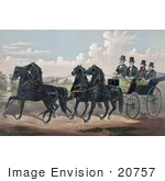 #20757 Stock Photography Of A Man And His Three Sons In A Carriage Being Pulled By Four Beautiful Black Horses