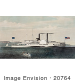 #20764 Stock Photography Of The Low Pressure Steamboat Isaac Newton On The Hudson River Ny