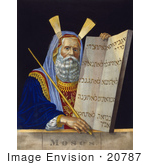 #20787 Stock Photography of Moses Holding a Staff and a Tablet With the Ten Commandments on a Tablet by JVPD