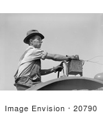 #20790 Stock Photography of a Man Driving a Tractor and Tuning a Radio in 1939 by JVPD