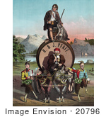 #20796 Stock Photography Of A Vintage Beer Advertisement Of Joseph Jefferson As Rip Van Winkle With A Beer Keg