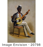 #20798 Stock Photography Of A Happy African American Man Playing A Banjo