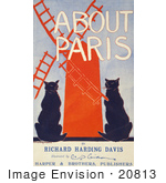 #20813 Stock Photography Of Two Black Cats And A Red Windmill On The Cover Of A Book About Paris