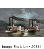 #20814 Stock Photography Of Two Steamboats Racing On The Mississippi River At Night Under A Full Moon